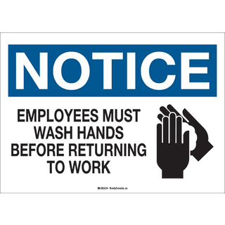 Brady COV5SS Health and Safety Sign - 10 X 14 SS EMPLOYEES MUST WASH HANDS
