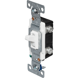 Eaton Cooper Wiring 5223-7W-BU 3-Way Toggle Receptacle Switch, 120V, 15A, White
