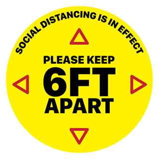 DPF SDS_Y_12 Social Distancing Floor Sticker, 12X12 PLEASE KEEP 6FT APART