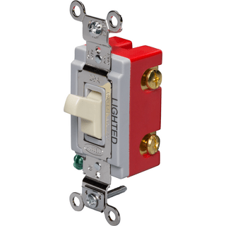 HUBBELL CONTROL SOLUTIONS HBL1221IL Single Pole Heavy Duty Illuminated Toggle Switch, Ivory