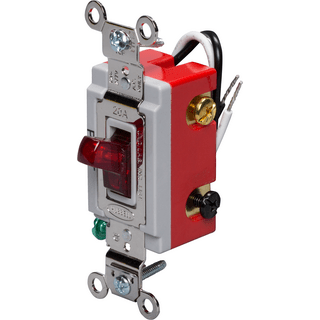 HUBBELL CONTROL SOLUTIONS HBL1223PL 3-Way Heavy Duty Pilot Light Toggle Switch, Red