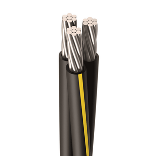 URD-RAMAPO 2-2-2 AWG, 7 Strands, Direct Burial Cable, Aluminum, Black, 2 W/Neutral, Cut Length